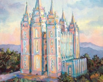 Salt Lake Sunset Oils LDS Temple PRINT, variety of sizes available