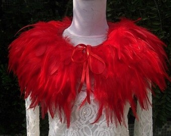 red feather Collar Shrug Cape
