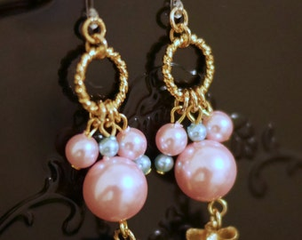 Plastic Pearl Earrings with Gold Ribbons