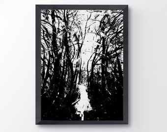 Lost, Art Print, Running Girl, Dark Forest Art, Little Girl, Black And White, Scary Forest, Fantasy Art, Home Decor, Wall Decor, Ink Art