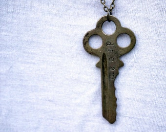 Custom Word Pendant Key Necklace on Antique Brass Chain