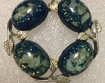 Vintage Blue Lucite Wreath Pin