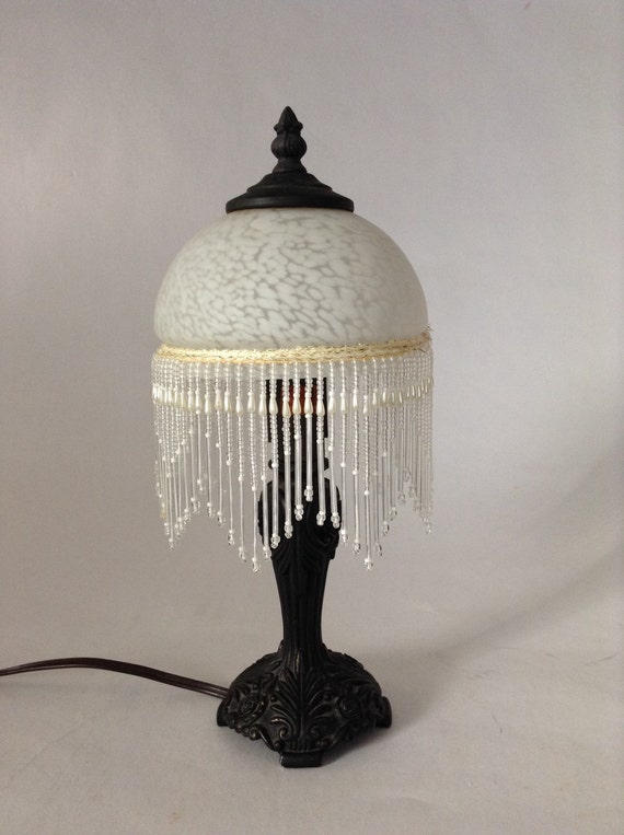 Beaded Fringe Frosted Glass Dome Vintage Bedside Lamp