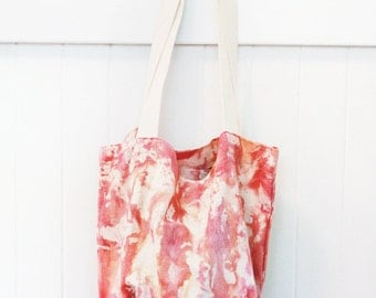coral oversized ice dyed canvas tote