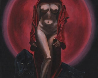 """Fantasy art print - mounted ready to frame  - """"The Sorceress"""""""