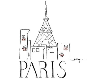 City Sketch - Paris | Black and white Illustration | Inspirational Wall Art | Ink Drawing | Hand drawn with Signature