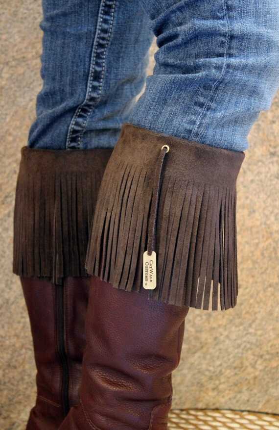 Boot Cuff Leather Fringe Chocolate Brown suede fringe boot