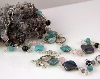 Black Mother of Pearl Turquoise Silver Crosses Rose Quartz Swarovski Crystals Necklace