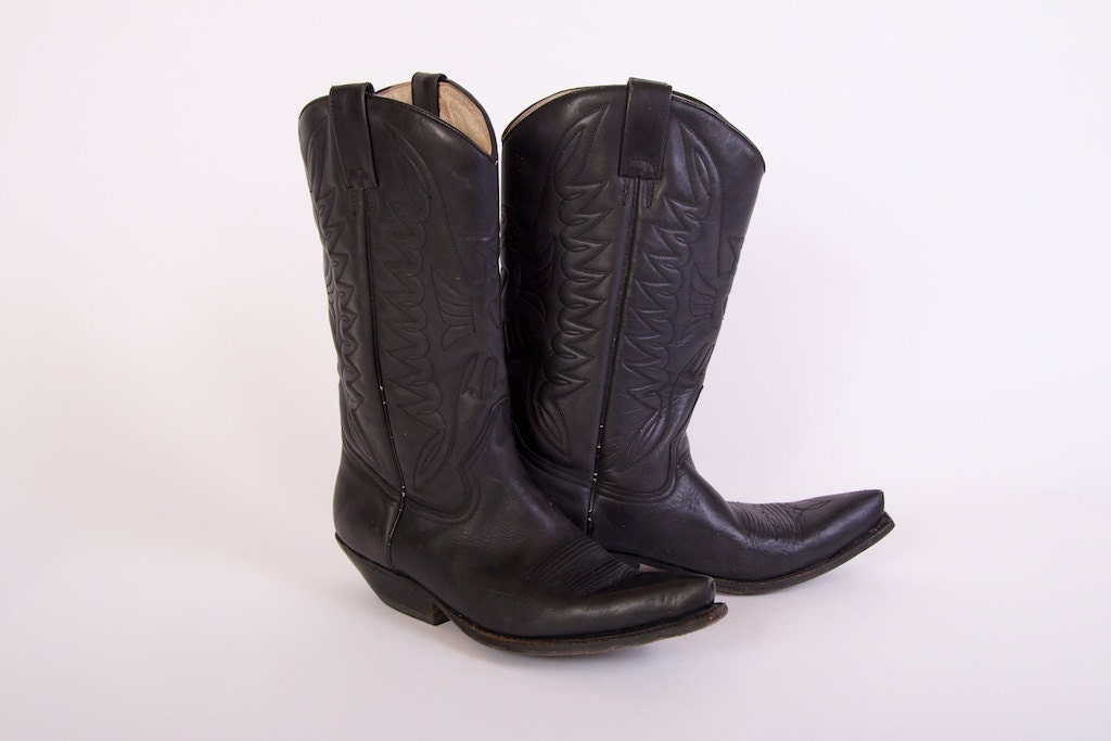 buffalo cowboy boots mens western black genuine by kukkaramba