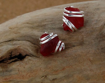 Red Sea Glass Stud Earring
