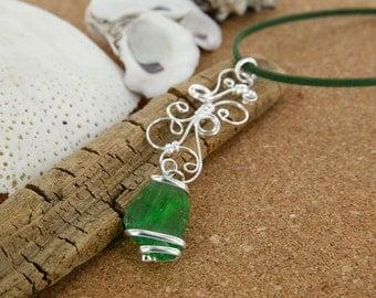 Bottle Green Sea Glass Filigree Necklace