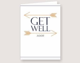 "Printable Arrow Design ""Get Well Soon"" Card (PDF Download)"