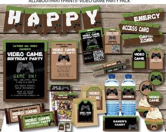 PDF format-Instant Download-Video Game Party Printable 2 -Complete Party Pack Printable-for personal use only-digital file