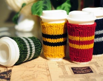 Harry Potter Cup Sleeve, Coffee Sleeve, Pottermore, Hogwarts, Gryffindor, Slytherin, Ravenclaw, Hufflepuff, Wizard, Gift Idea