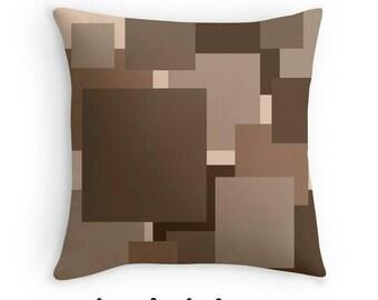 Brown Pillow, Brown Geometric Pillow, Brown Decorative Pillow, Geometric Toss Pillow, Geometric Abstract Pillow, Geometric Throw Pillow