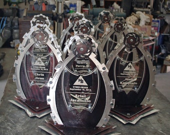Custom Metal Trophy with Gear Tops