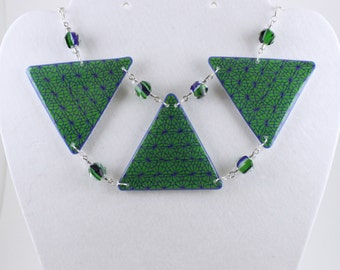 Green and Blue Statement Necklace of my original drawing, Triangle shape pendant with glass beads on silvertone chain.