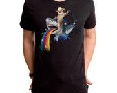 Bucking Sharkaroo (GT4780-101BLK) Men's T-shirt. Cowboy tees, cats, sharks, rainbows, cats tees, cat lovers, shark week, funny cat t-shirts.
