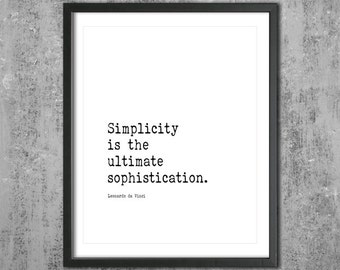 "Leonardo Da Vinci Inspirational Poster ""Simplicity Is The Ultimate Sophistication"" Digital Download Minimalist Typography Statement Art"