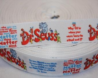 """Dr. Seuss inspired grosgrain ribbon  7/8""""   R84"""