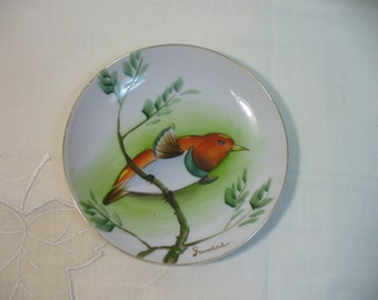 Vintage hand painted hummingbird plate - 6 inches - Made in Japan - # HS-PL-11