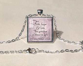 BIBLE QUOTE JEWELRY Scripture Jewelry Scripture Pendant Faith Jewelry Bible Quote Pendant Christian Gift for Christian 1 Corinthians 13 Aqua