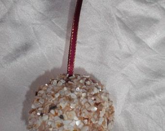 Seashell Ball Christmas Ornament, Coastal Christmas, Wedding Favor