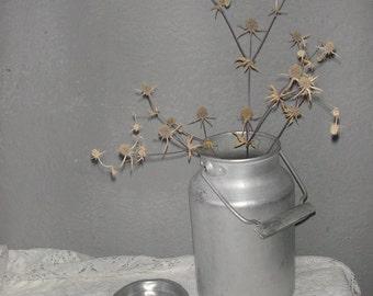 Vintage milk can Aluminum, Primitive Rustic Farmhouse Kitchen decor, 70s, Russian, Soviet Union