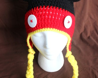 Crochet Mickey Mouse Earflap Hat With Braids - Size Toddler/Preschooler