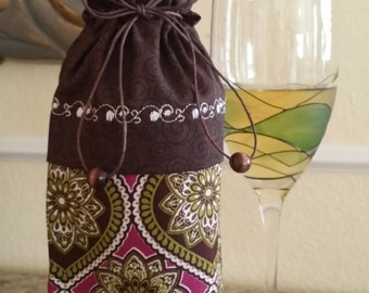Wine Bag-Deluxe-Classic Collection (Magenta n' Olive n' Brown)