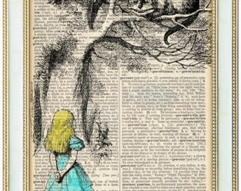 Alice in Wonderland dictionary art, mixed media art on 1923 5X7 upcycled dictionary page, buy 2 get 1 FREE!