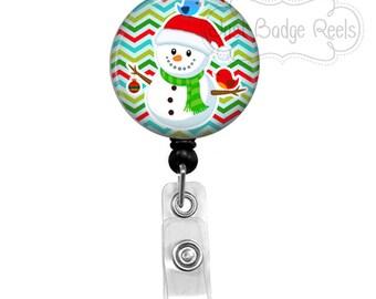 Badge Holder - Snowman Badge Reel - Christmas Badge Holder - Retractable Badge Reel - Holiday Badge Reel - 1011