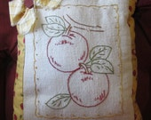 Hand Embroidered Apple Sampler Pillow- Aunt Martha's Fanciful Fruit Design