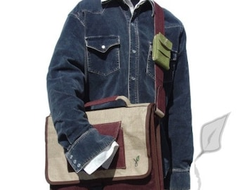 "Eco-friendly Messenger 15"" Laptop Bag Briefcase Hand-made by HeyJute"