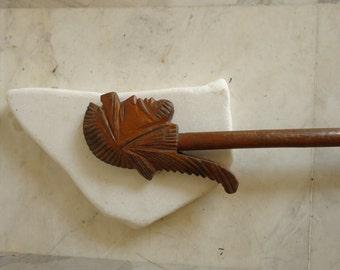 Antique Hand Carved Greek Shepherd's Crook- Vintage Greek Folk Art