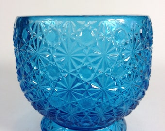 Aqua Blue Daisy Button Pressed Glass Footed Bowl