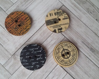 Wood Button Magnets - faux vintage patterns