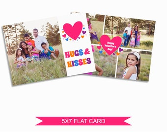 Valentine's Day Card Template - 5x7 Digital Photography Photoshop Files - Template for Photographers -- VDC06 - INSTANT DOWNLOAD
