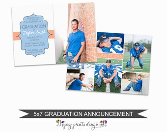 Graduation Announcement Template - 5x7 Digital Photography Photoshop Files - Template for Photographers - GC09 - DOWNLOAD or PRINTABLE