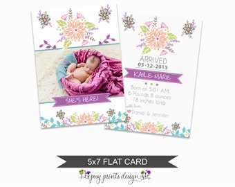 Birth Announcement Card Template - 5x7 Digital Photography Photoshop File - Template for Photographers - NC17 - INSTANT DOWNLOAD
