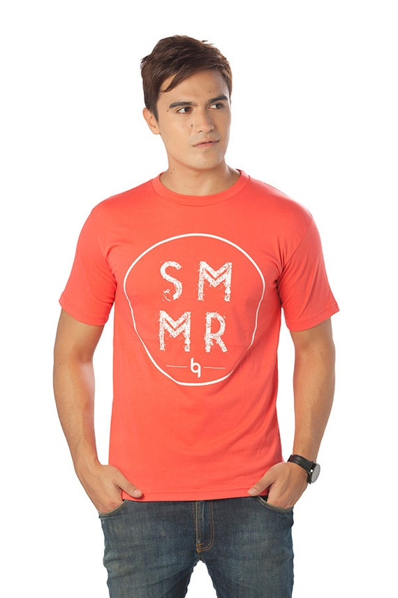 Men 39 S Beach T Shirt In Coral Orange Made With High By