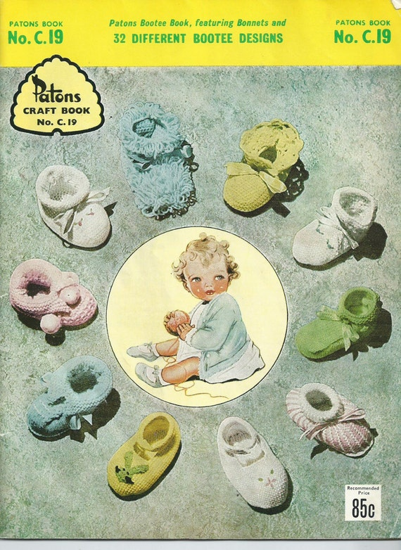 Knitting For Babies Books : Vintage patons baby knitting book no c bootees s