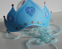 Crown (printable) frozen blue with diamond heart for dress up, precious stones yellow and red - Delicate russian style
