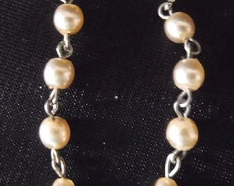 Pearl Chain Link Earrings, Silver pierced stud earring