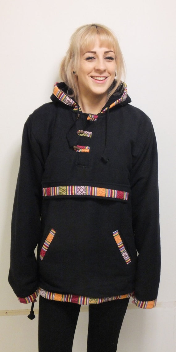 Men + Women's Warm Fleece Lined Black Jackets Hoodies Hippy Festival Boho