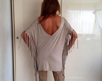 tunic/beige tunic/tunic with fringe/dress/