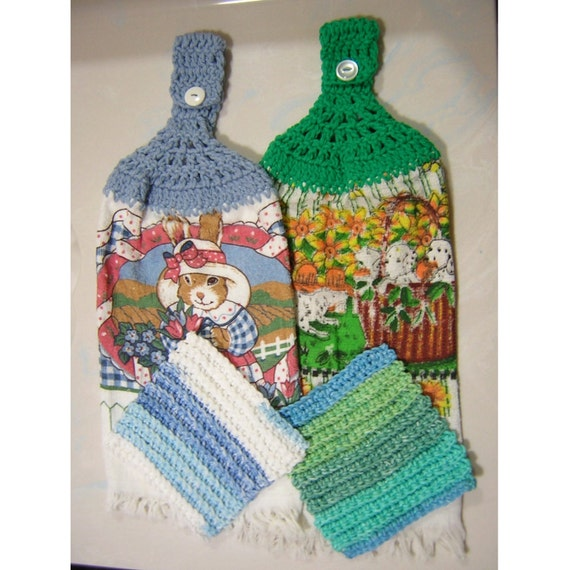 Crochet Patterns Kitchen Towels : Set of 2 Crochet Hanging Dish Towels with 2 Crocheted Dish