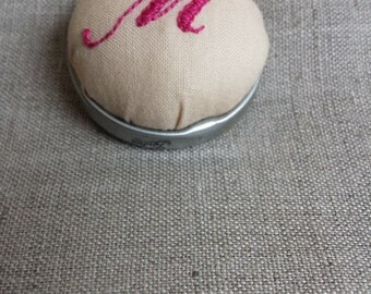 Upcycled Pin Cushion Brooch with Hand Embroidered Monogram 'M'