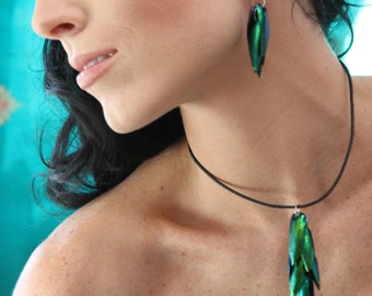 Exotic Thai Iridescent Jewel Beetle Wing Necklace Sterling Silver