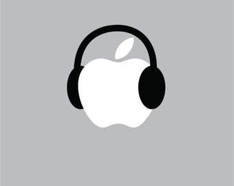 Apple Headphones - Mac Apple Logo Cover Laptop Vinyl Decal Sticker Macbook Unique Music
